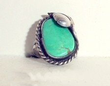 Native American turquoise Ring Leaf vintage view 1