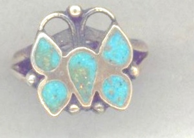 Native American Silver Turquoise Butterfly Ring view 1