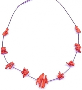 Native American Southwest Liquid Silver Coral Necklace view 1