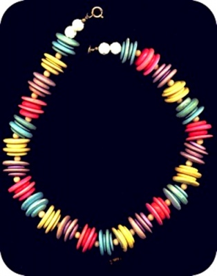 WOOD BEAD NECKLACE COLORFUL CHUNKY TRIBAL view1