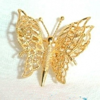 MONET OPENWORK Double Wing BUTTERFLY PIN view 1