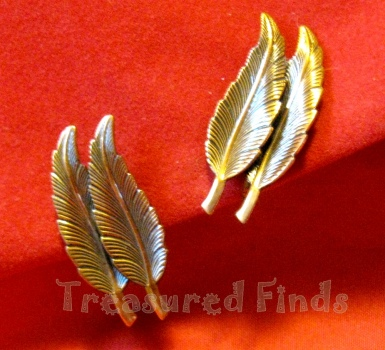 Copper Double Feather Earrings view 1